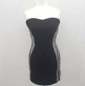 Nikibiki strapless black dress with silver sides